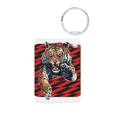 Red Black Tiger Aluminum Photo Keychain