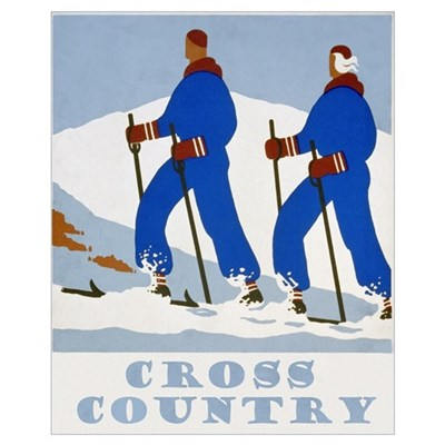 Cross Country Skiing Vintage Poster