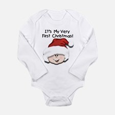 White Baby 1st Christmas Long Sleeve Infant Bodysu