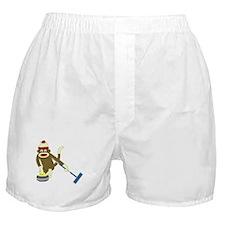 Sock Monkey Olympic Curling Boxer Shorts
