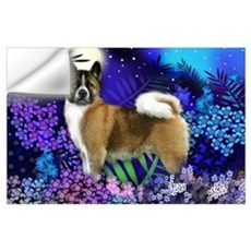 Brindle Akita Moon Garden Print Wall Decal