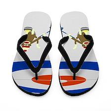 Sock Monkey Olympic Curling Flip Flops