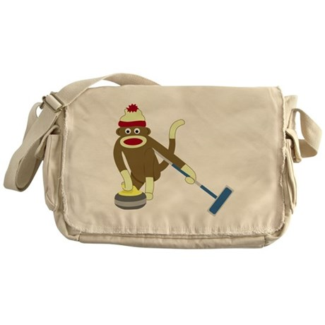 Sock Monkey Olympic Curling Messenger Bag