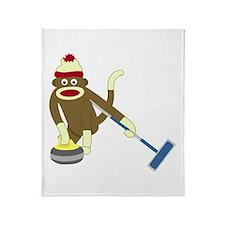 Sock Monkey Olympic Curling Throw Blanket