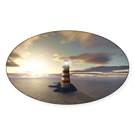 Lighthouse at Sunrise Sticker (Oval)