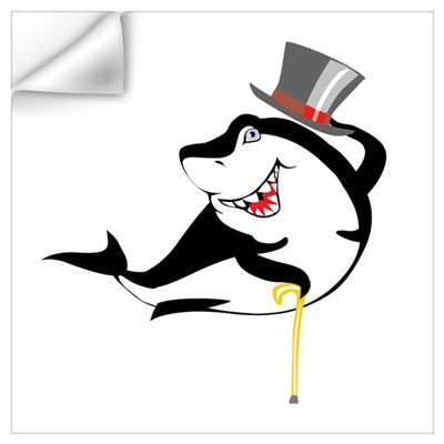 Top-Hat Shark Wall Decal
