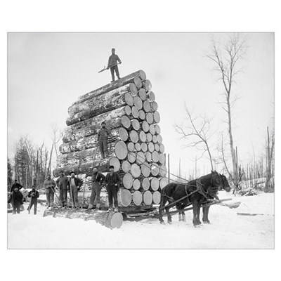 Loggers At Work, 1890 Poster