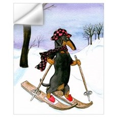 Cross Country Skier Doxie Wall Decal