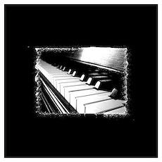 Down The Piano Keys (B&W) Poster