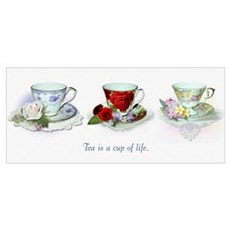 Small framed teacup print Poster