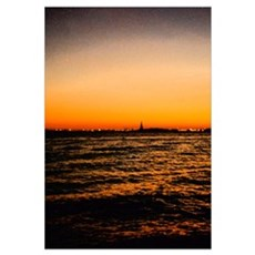 Statue Of Liberty at Sunset Canvas Art