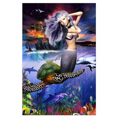 Large Mermaid Two Worlds Poster