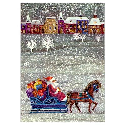 Santa's Sleigh on Christmas Poster
