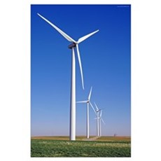 Windmills in Blue Sky Poster