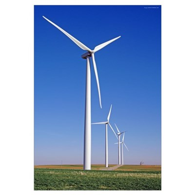 Windmills in Blue Sky Canvas Art