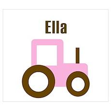 Ella - Pink/Brown Tractor Poster
