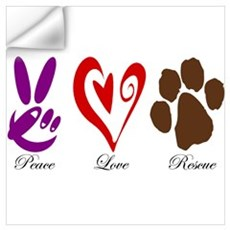 Peace, Love, Rescue Wall Decal
