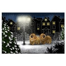 CHOW CHOW DOGS SNOWY CITY Poster