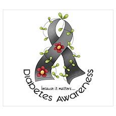 Flower Ribbon DIABETES Poster