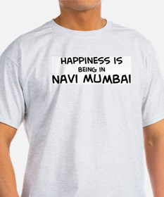 Happiness is Navi Mumbai Ash Grey T-Shirt