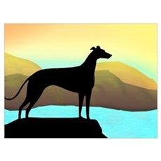greyhound by the sea Framed Print