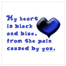 Black and Blue Heart Poster