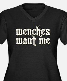 WENCHES WANT ME Women's Plus Size V-Neck Dark T-Sh