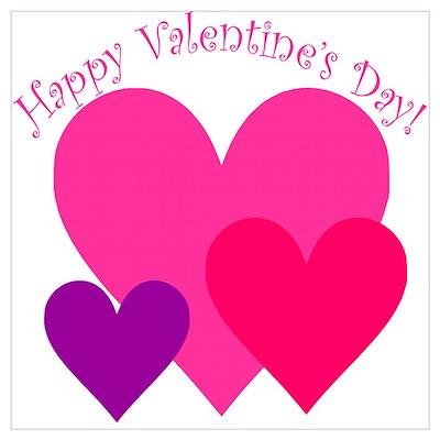 Valentine's Day Hearts Trio Poster