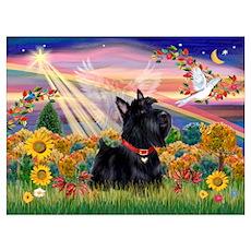 Autumn Angel Scottie Poster