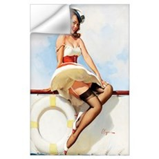 Anchors Aweigh Navy Pinup Girl Wall Decal