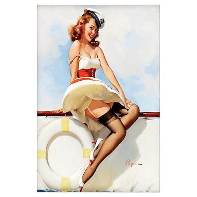 Anchors Aweigh Navy Pinup Girl Poster