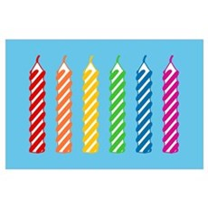 Rainbow Birthday Candles Poster