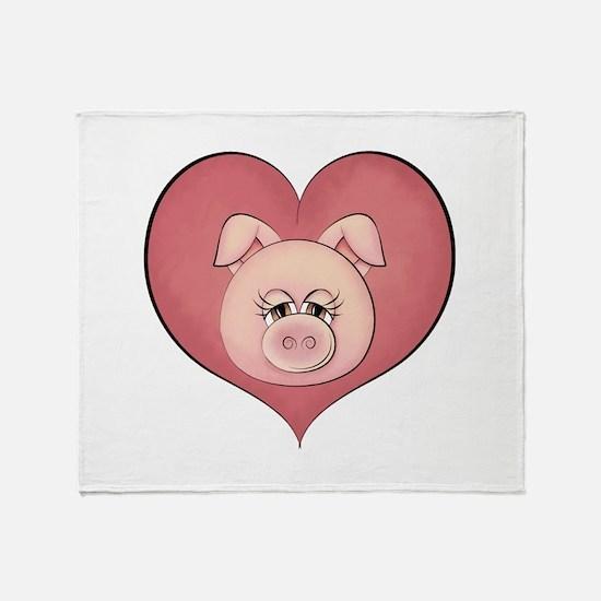 Pig Heart Throw Blanket