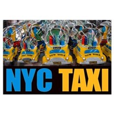 NYC Taxi Globes Fine Print Canvas Art