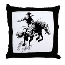 B/W Bronco Throw Pillow
