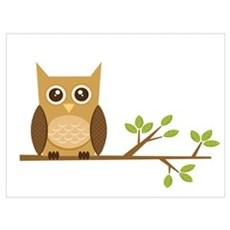 Brown Owl on Branch Poster