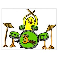 Duck Playing Drums Poster