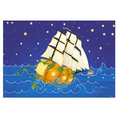 Pumpkin Fairy Ship Canvas Art
