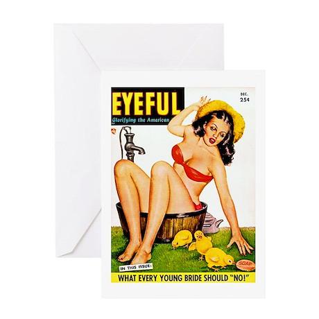 Eyeful Bathing Farm Beauty Girl Greeting Card
