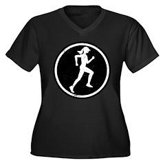 Female Runner Women's Plus Size V-Neck Dark T-Shir