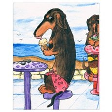 Ice Cream Dachshunds Canvas Art