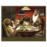 Dogs playing poker Framed Prints