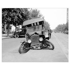 Crashed Ford Model T, 1922 Framed Print
