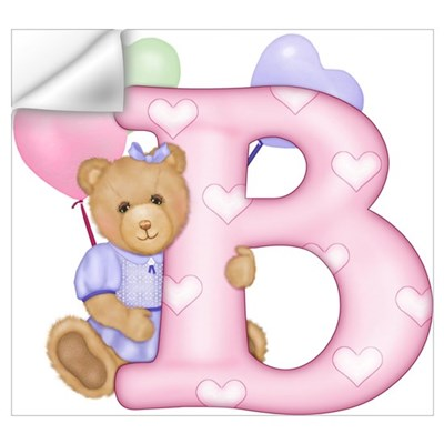 Teddy Alphabet B (bd) Pink Wall Decal