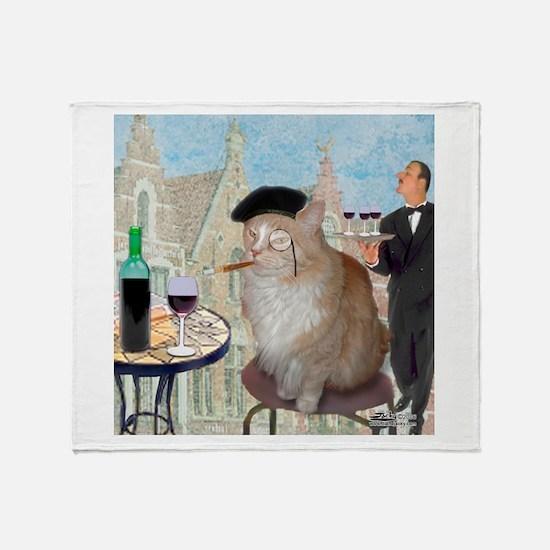 Le Cat du Cafe Throw Blanket