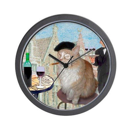 Le Cat du Cafe Wall Clock