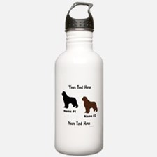 1 Black & 1 Brown Newf Water Bottle