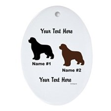 1 Black & 1 Brown Newf Ornament (Oval)