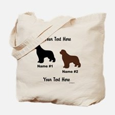 1 Black & 1 Brown Newf Tote Bag