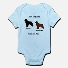 1 Black & 1 Brown Newf Infant Bodysuit